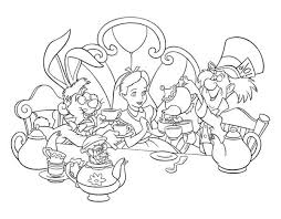 Small Picture Alice and Mad Hatter and White Rabbit Drink Tea in Alice in