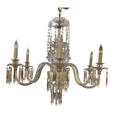 vintage six light crystal venetian glass chandelier
