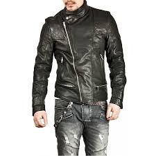 asymmetrical black leather biker jacket zoom men s