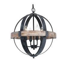 wood orb lighting distressed weathered oak 4 light wood orb chandelier home ideas website