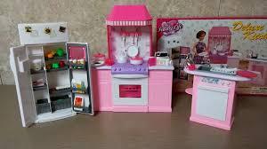 barbie size dollhouse furniture set. Unboxing Barbie Kitchen Set By Gloria - Size Dollhouse Furniture Mini Doll