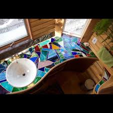 Stained Glass Mosaics Bathroom Countertop By MadduxWorks For - Mosaic bathrooms