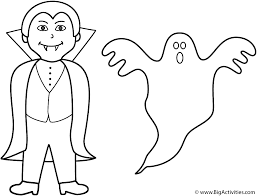 Vampire With Ghost Coloring Page Halloween