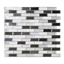 stick wall tiles quotxquot: shop smart tiles  pack white glossy composite vinyl mosaic linear peel and