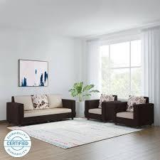 comfortable sofa sets. Perfect Sofa Bharat Lifestyle Nano Fabric 3  1 Cream Brown Sofa Set With Comfortable Sets