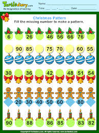 Number Patterns Magnificent Christmas Find The Missing Number Pattern Worksheet Turtle Diary