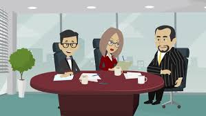 funny cartoon characters two men and a girl discuss working talks in a spacious office at the round table and write down a sheet office meeting