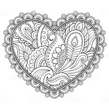 Mehndi Bloemenpatroon In Vorm Van Hart Voor Henna Tekening En De