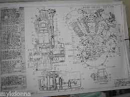 harley davidson plan drawing print 61ci knucklehead engine harley davidson 61ci knucklehead engine blueprint el hd poster print motorcycle