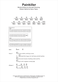 painkiller sheet music by judas priest lyrics chords  painkiller sheet music