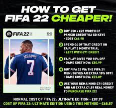 Cheapest way to get FIFA 22 (you can also do this without buying anything  from CDKeys): FIFA