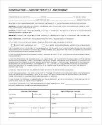 Sample Subcontractor Agreement Impressive Sample Subcontractor Agreement Forms 44 Free Documents In Word PDF