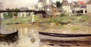 boats on the seine painting berthe morisot boats on the seine art painting