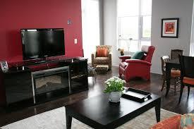 living room with black furniture. Living Room: The Red Wall Room With Black Furniture B