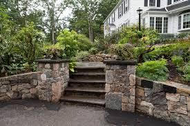 formal bluestone steps with pillars