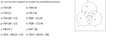 Probability Of A Given B Venn Diagram Solved 34 Use The Venn Diagram To Answer The Probability