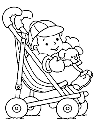 Small Picture Cute Baby in a Stroller Coloring Page Coloring Sun