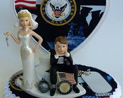 army wedding toppers. wedding cake topper u.s. navy themed ball and chain bride groom dog tag flag heart backdrop army toppers