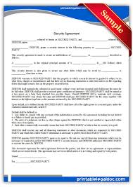 Sample Security Agreement Consumer Loan Security Agreement Sample Printable Business Template 1