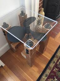 antique propeller table industrial side