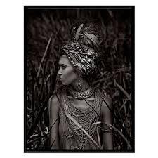 headdress framed canvas print black frame