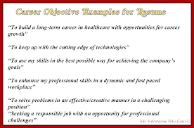 Objective Resume Samples Cool Career Objective Resume Example Objectives For Job Resumes