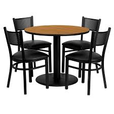 36 round natural laminate table set with 4 chairs