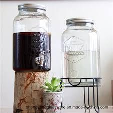glass single mason jar beverage drink dispenser with leak free spigot