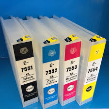 Epson Printer Cartridge Compatibility Chart Epson T 7551 7662 7553 7554 75 Refillable Ink Cartridge Workforce Pro 8010 8090 8510 8590