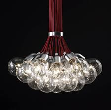idle max s is a stunning suspension light with multiple clear bulbs cord available in black or red