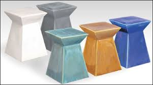 ceramic garden seat. with angular ceramic garden seat in five colors b