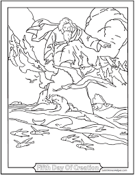 creation coloring sheet creation coloring pages god made fishes and birds