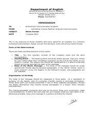 Memo Format 1 Department Of English Language And Communication