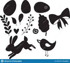 Easter Template Easter Set Of Decorative Silhouette Illustration Happy