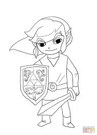 Link Coloring Pages To Print Toon From Legend Of Zelda Wind Waker