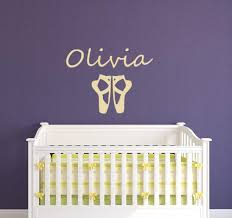 elegant ballet shoes custom name wall decal girs bedroom personalized high quality nursery sweet home name stickers decor vinyl art stickers vinyl clings