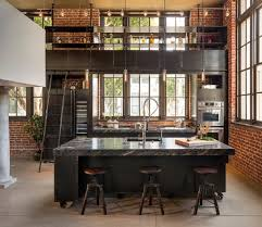 Industrial Kitchen Modern Industrial Kitchen Black Backless Bar Stools Copper Pendant