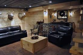 Wood Panel Walls Rustic Basement Ideas