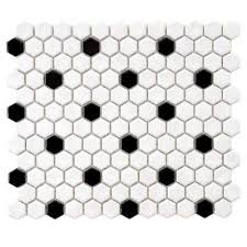 black and white hexagon tile floor. metro hex glossy white with black and hexagon tile floor