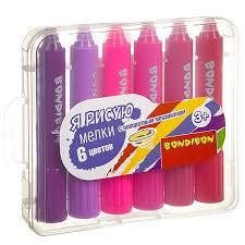 <b>Набор мелков Bondibon 6</b> цветов в пластиковой коробочке, ВОХ ...