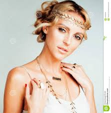 ancient greek fashion dresses sandals hair jewellery make up royalty free stock photo