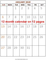 12 Monthly Calendar 2019 12 Pages From Theprintablecalendar Com