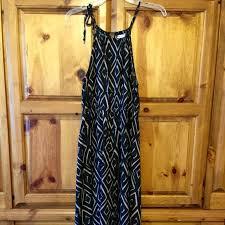 Liz Lange Maternity Maxi Dress Black And Tan Geometric