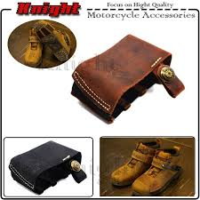 newest hot motorcycle black brown pedal gearshift leather shift sock boot shoe protector with 3d logo