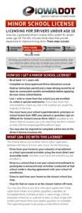 August Age Minor For 21 - Drivers 2015 Online 18 Iowa License Publications School Licensing Under
