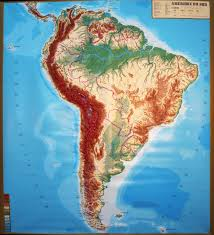 Large Extreme Raised Relief Map Of South America French Language