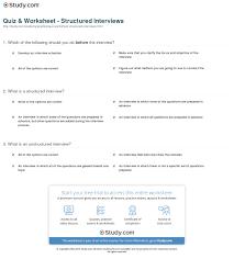 quiz worksheet structured interviews com print structured interview definition process example worksheet
