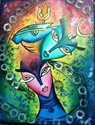 17 100 abstract lord shiva and parvati you