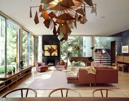 unique brown chandelier with open plan furniture arrangement for
