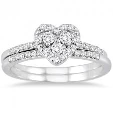 heart wedding set. 1 carat heart shape halo design round diamond bridal set wedding n
